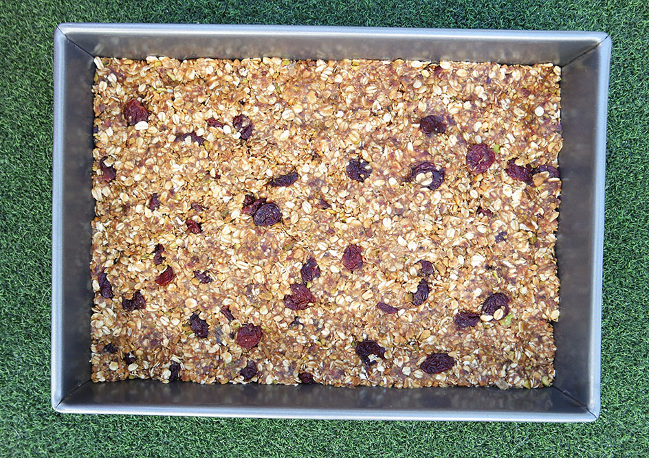Chewy Date Granola Bars with Pistachios and Cherries