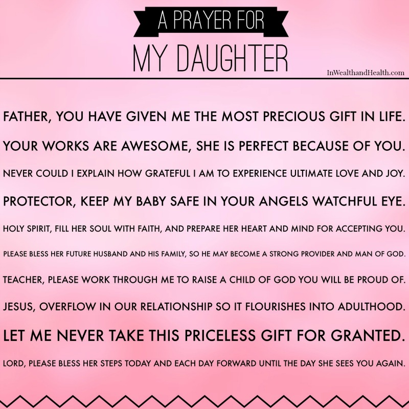 A Prayer for my daughter | In Wealth and Health