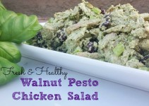 Healthy and such a great option to mayo-based chicken salads. Walnut Pesto Chicken Salad | In Wealth and Health