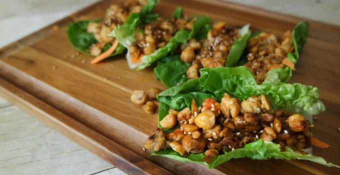 Asian-Inspired #Vegetarian Lettuce Wraps with Honey Garlic Glaze @HappyHealthyRD