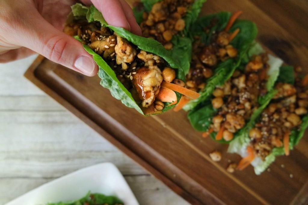 Asian-Inspired #Vegetarian Lettuce Wraps with Honey Garlic Glaze @HappyHealthyRD