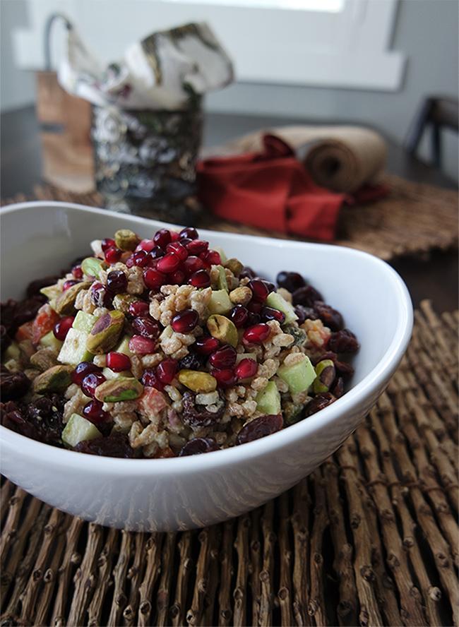 Pistachio & Pomagranate Fall Farro Salad