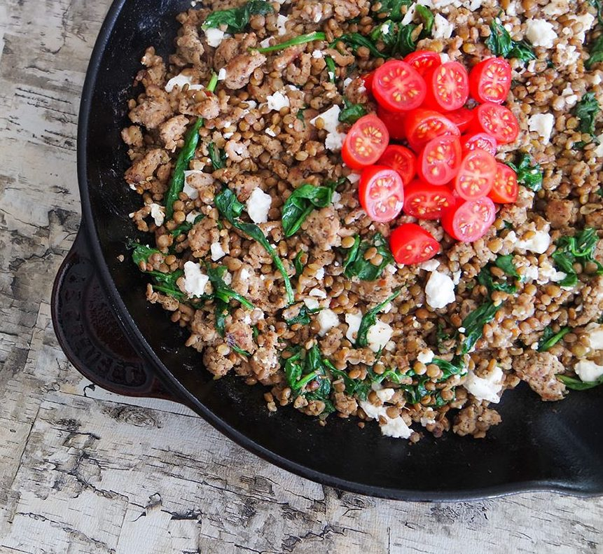 Greek Ground Turkey Lentil Skillet